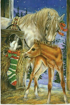 New Large Evergreen Flag Foal's First Christmas Mare Horse Cat  29 X 43