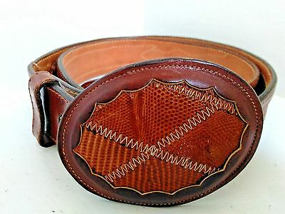 NOCONA Brown Leather Belt & Leather Buckle - Cowboy - SIZE 36 - Circle Y - NICE!