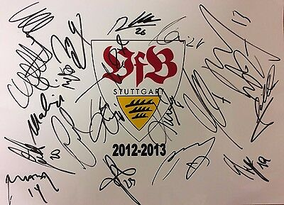 Stuttgart Fc 2012/13 Club Badge Signed By 20 Players See Proof