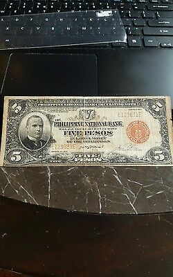 Very Rare 1937 5 Pesos Red Seal Philippines Notes McKinley