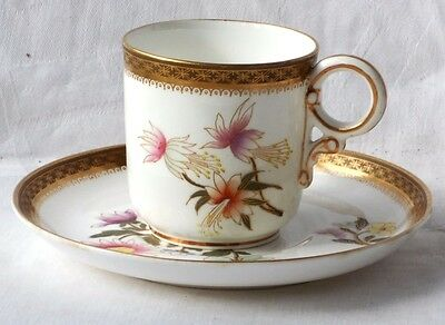 C19Th Royal Worcester Hand Painted Cup And Saucer
