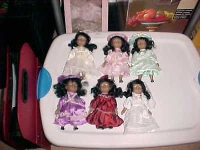 """6 AFRICAN AMERICAN Dandee 7"""" Collection Dolls Porcelain"""