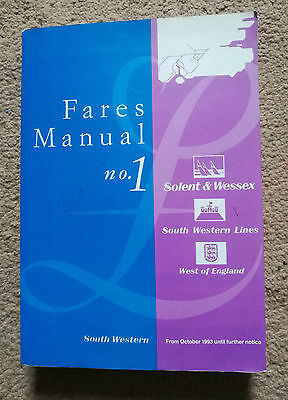 Solent and Wessex South Western Lines Fares Manual No.1 From October 1993
