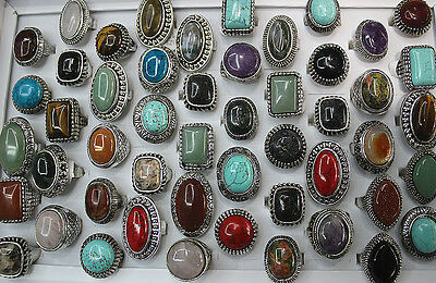 New Wholesale mixed Lots 12pcs big colorful nature stone women's rings