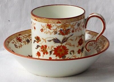 C18Th Wedgwood Creamware  Hand Painted Coffee Can & Saucer In A Floral Pattern