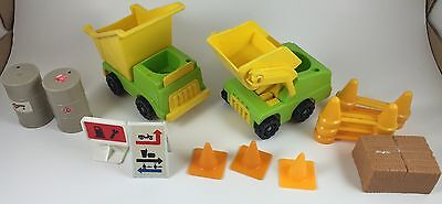 Vintage Fisher Price Little People Lift & Load Builders Construction Vehicles
