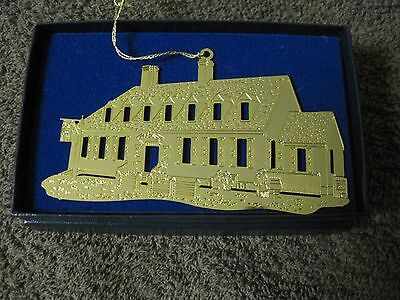 """1988 Colonial Williamsburg Gold Finish Christmas Ornament """"raleigh Tavern"""""""