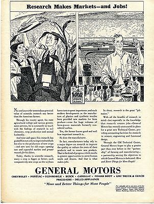 1945 General Motors GM Research Makes Markets & Jobs Farm and Laboratory Ad