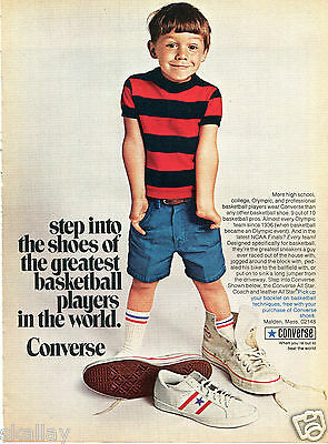 1970 Print Ad of Converse All Star Coach and Leather Sneaker Basketball Shoes