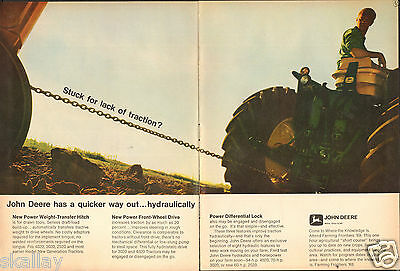 1968 2 Page Print Ad of John Deere 4020 3020 & 2520 Hydraulics Tractor