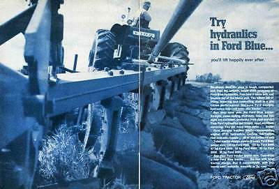 1970 Ford Blue 5000 Farm Tractor & Plow 2 Page Print Ad