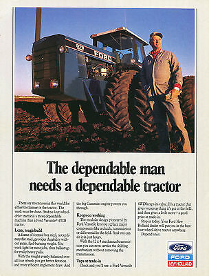 1990 Ford New Holland Versatile 976 Farm Tractor Print Ad