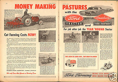 1949 Ford Tractor & Dearborn Implements 2 Page Farm Print Ad