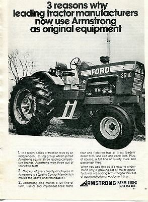 1973 Armstrong Farm Tires with Ford Blue 8600 Tractor Print Ad