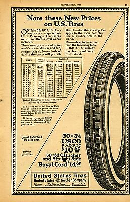 1922 Vintage Print Ad of United State Tires US Rubber Company USCO Car Tire