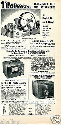 1949 Print Ad of Transvision Television TV Kits & Instruments