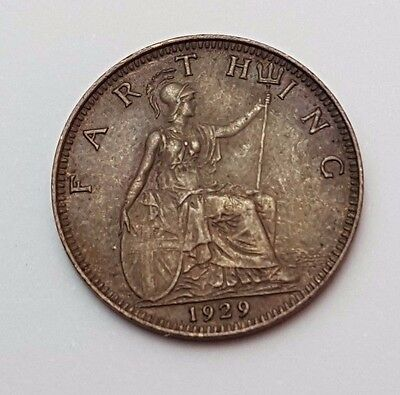 1929 - Copper - One Farthing - Great Britain - King George V - English UK Coin