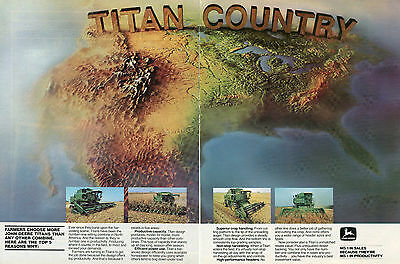 1982 John Deere Titan Country 2 Page Combine Farm Tractor Print Ad