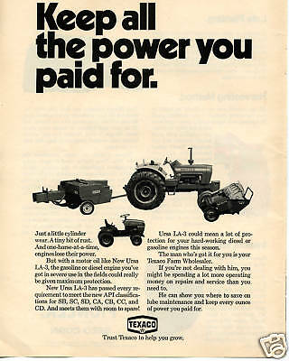 1971 Texaco Motor Oil Ford 8000 New Holland Tractor Print Ad