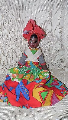 Vintage Handcrafted Black Americana Lady Doll Colorful Dress