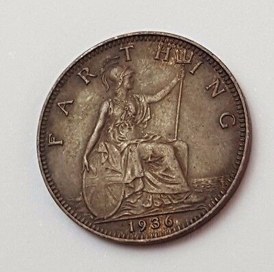 1936 - Copper - One Farthing - Great Britain - King George V - English UK Coin