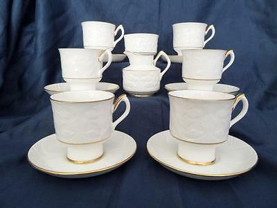 Elegant Crown Staffordshire Glendale Embossed White Part Coffee Set Exc Cond