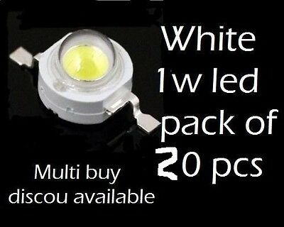 1-Watt x20  High Power Pure White 65000k Superb LED Light Lamp Bulb