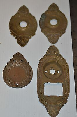 Heavy Brass Door Knob Back Plates / Escutcheons Sargent & Co.  Gothic Victorian