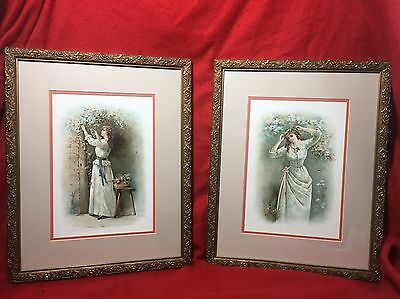 Pair Of Antique hand colored prints.Victorian. Signed By Artist Janny Bowers