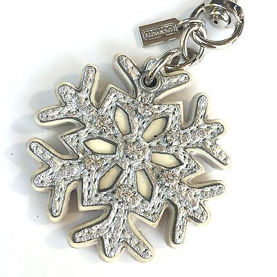 NEW RARE Coach Silver Crystal Leather Snowflake Key Chain Ring Fob Purse Charm