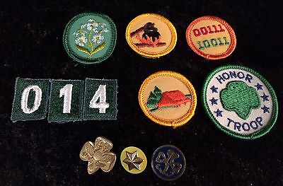 Mixed Lot of 11 Girl Scout Uniform Insignia Vintage Merit Badges Patches & Pins