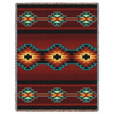Southwest Geometric Black and Russet Woven Art Tapestry Throw 3875-T Made in USA