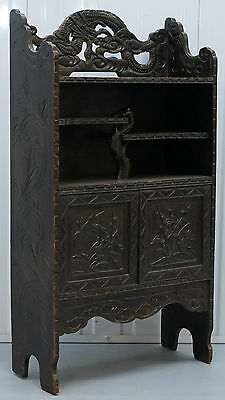 Circa 1920 Chinese Dragon Hand Cared Wood Bookcase Shelves Cabinet Ebonised