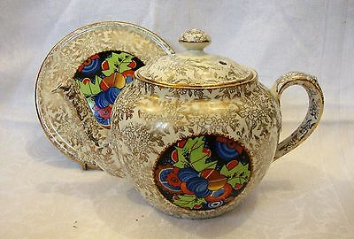 1930's Art Deco Gold Chintz Empire Ware Teapot & Stand - Lawleys - VGC