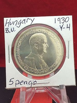 1930 Hungary 5 Pengo Silver Coin Admiral Miklos Horthy *B.U.* **Great Luster**