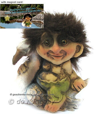 Troll with swan & magnet happiness card,  NyForm Troll  Norway figurine,Norvegia