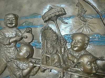 """Massive Chinese wall art sculpture """"stunning style"""" Vintage 1980s Art picture"""