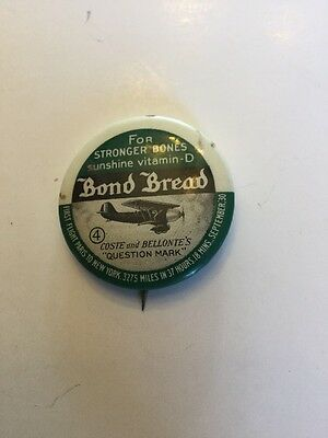 Vintage Bond Bread Pin Airplane First Flight From Paris To New York Rochester NY