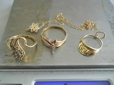 10K & 14K Solid Gold Jewelry Scrap Or Not 7.1 Grams Total