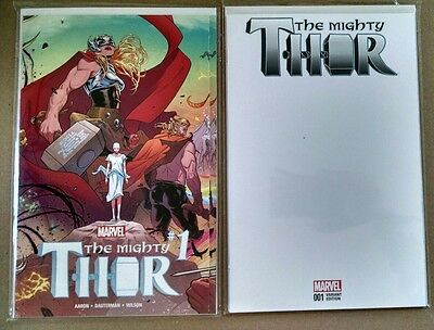 MIGHTY THOR #1 Regular & Blank Cover 1st Print NM Marvel Comics 2016  LOT OF 2