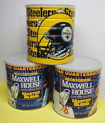 Vintage MAXWELL HOUSE Coffee QUARTERBACK & Pittsburgh STEELERS Collectable Cans