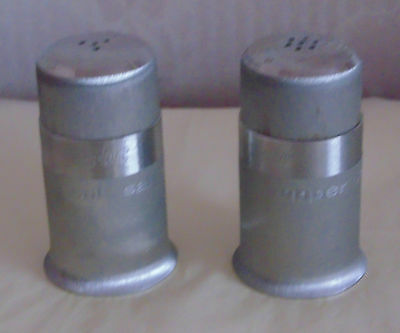White Metal Salt And Pepper Pot's Engine Turned