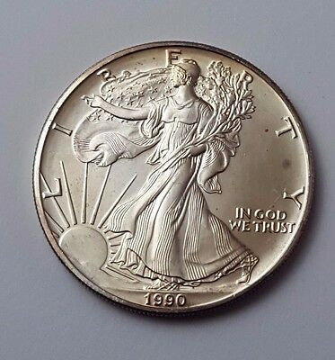 U.s.a - Dated 1990 - Silver - Eagle - $1 One Dollar Coin - American Silver Coin