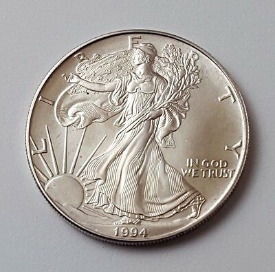 U.s.a - Dated 1994 - Silver - Eagle - $1 One Dollar Coin - American Silver Coin