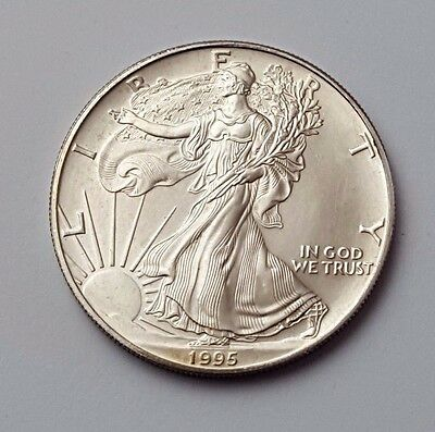 U.s.a - Dated 1995 - Silver - Eagle - $1 One Dollar Coin - American Silver Coin