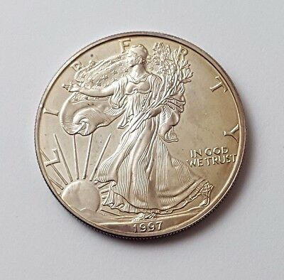 U.s.a - Dated 1997 - Silver - Eagle - $1 One Dollar Coin - American Silver Coin