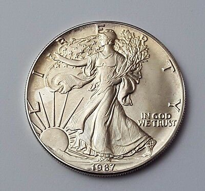 U.s.a - Dated 1987 - Silver - Eagle - $1 One Dollar Coin - American Silver Coin