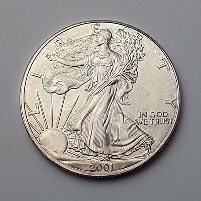 U.s.a - Dated 2001 - Silver - Eagle - $1 One Dollar Coin - American Silver Coin