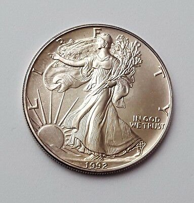 U.s.a - Dated 1992 - Silver - Eagle - $1 One Dollar Coin - American Silver Coin