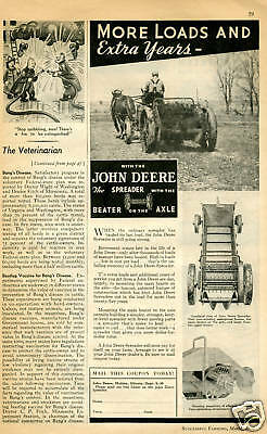 1938 John Deere Spreader Beater on the Axle Tractor Vintage Print Ad